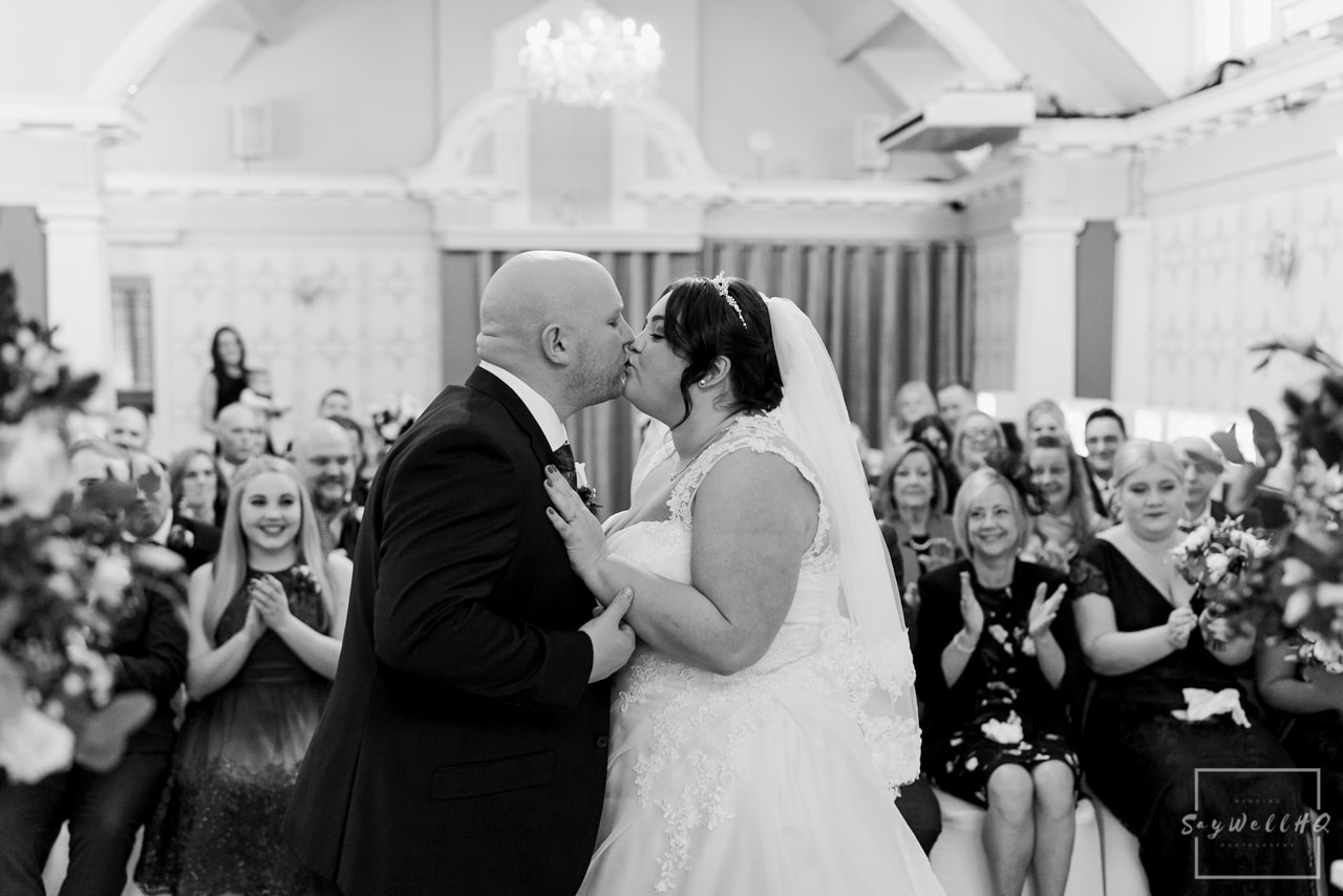The Embankment Pub Nottingham Wedding Photography + Bride & Groom first kiss during the wedding ceremony
