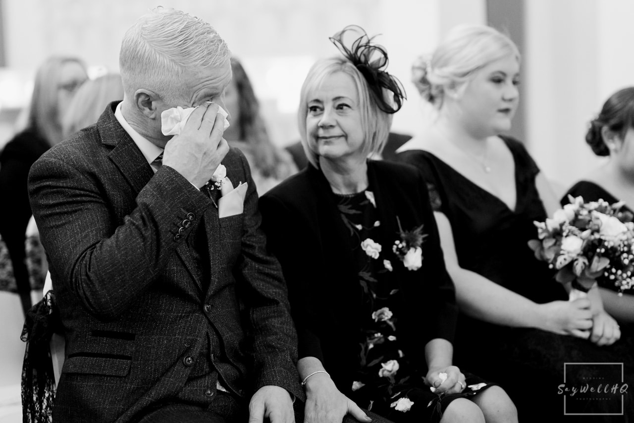 The Embankment Pub Nottingham Wedding Photography + Dad gets emotional during his daughters wedding ceremony