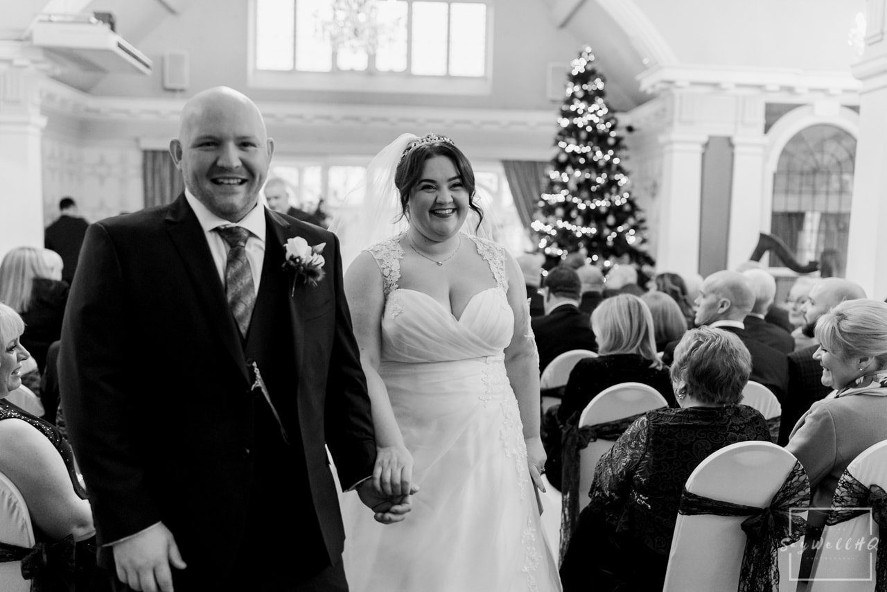 The Embankment Pub Nottingham Wedding Photography + Bride & Groom walking down the aisle after getting married at the Embankment Pub