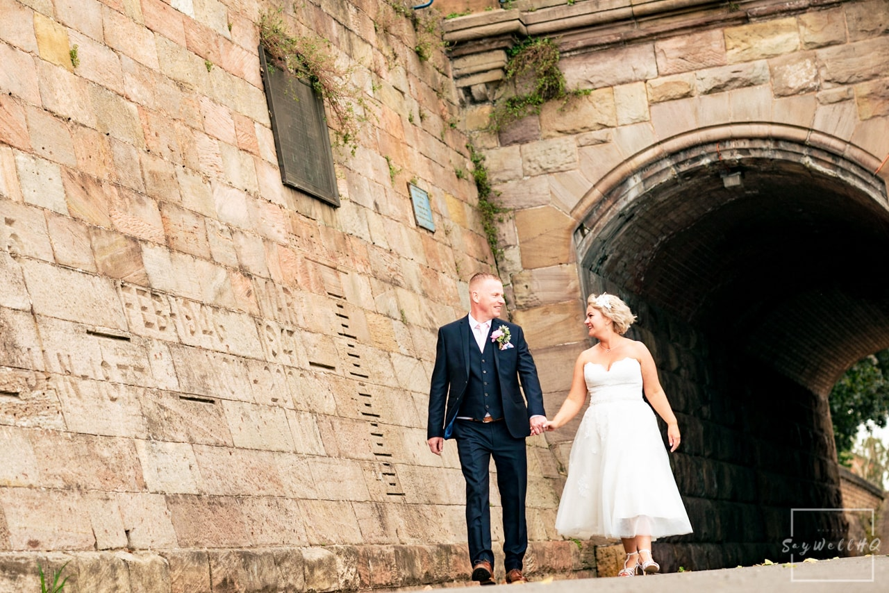 Brewhouse and Kitchen Wedding Photography + The Riverside Gallery Wedding Photographer + Bride and Groom enjoy a walk along the river trent after their nottingham wedding