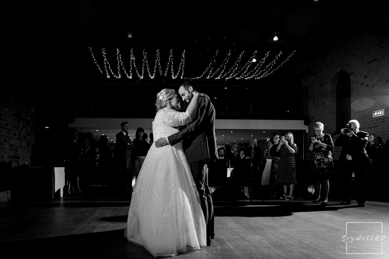 The Carriage Hall Wedding Photography + Carriage Hall Wedding Photographer + bride and groom dance during their wedding first dance at The Carriage Hall