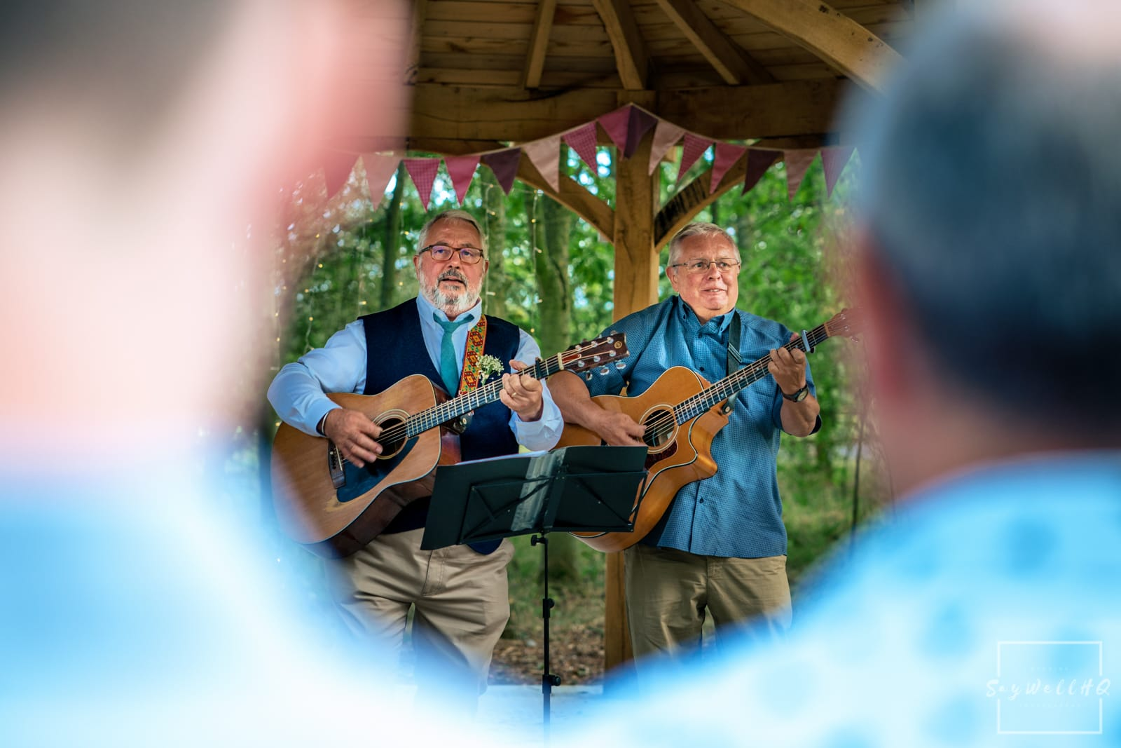 Mapperley Farm Wedding Photography + Mapperley Farm Wedding Photographer + Mapperley Farm Wedding Photography + Mapperley Farm Wedding Photographer + father of the bride plays guitar in the woodland