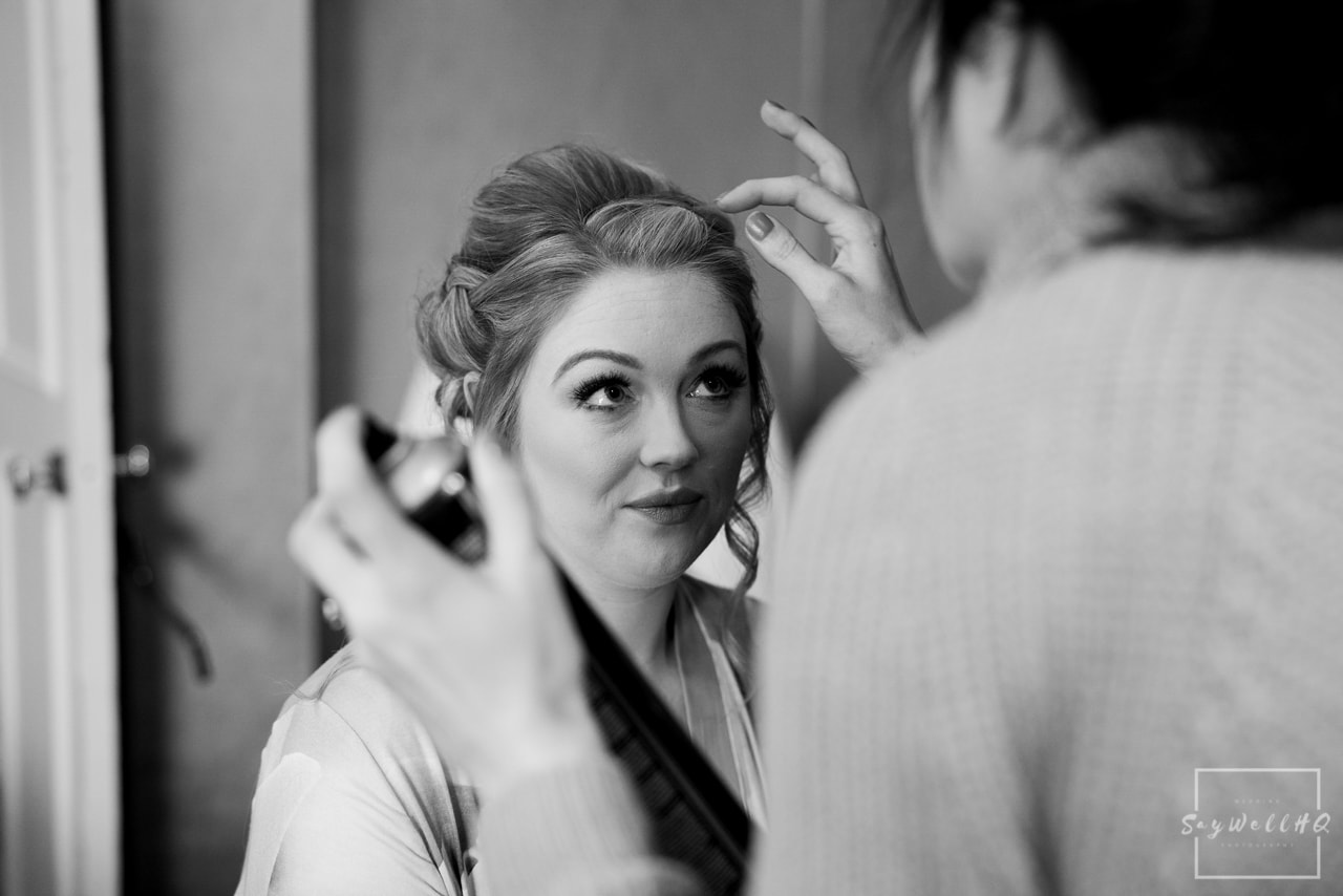 Norwood Park Wedding Photography + Bride and Bridesmaid getting ready at the St James Hotel in Nottingham before heading off to the wedding at Norwood Park