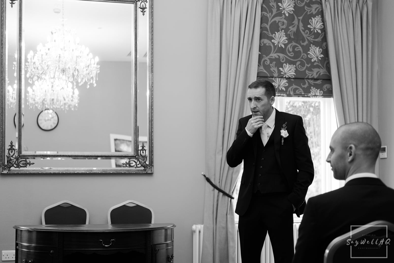 West Bridgford Wedding Photography + Bridgford Hall Wedding Photographer + Groom looking nervous before his wedding ceremony