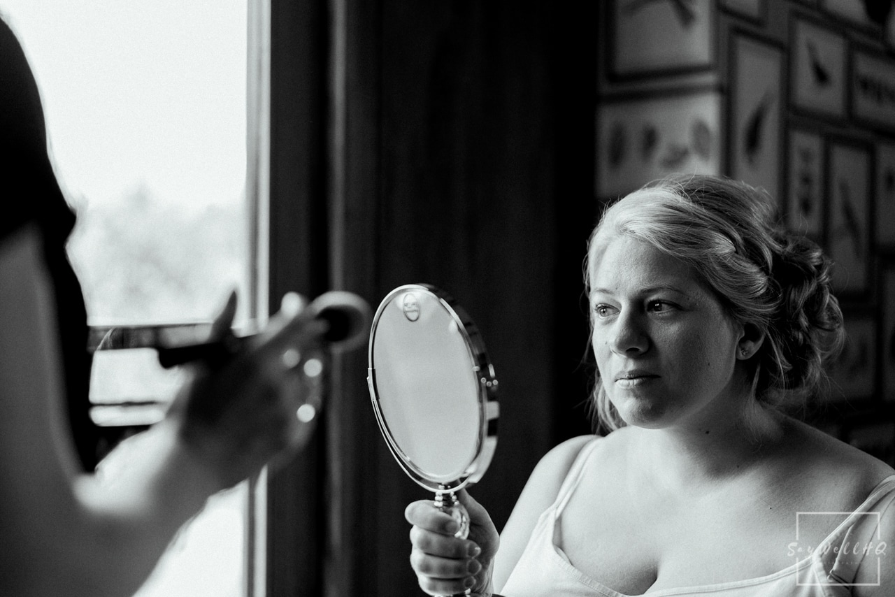 The Carriage Hall Wedding Photography + Carriage Hall Wedding Photographer + Bride having her make-up done on the morning of her wedding