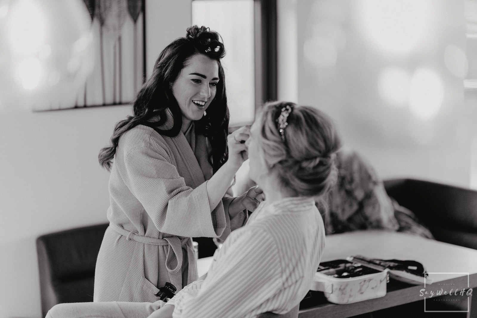 Goosedale Wedding Photography + Goosedale Wedding Photographer + bride having her make-up done on the morning of her wedding at Goosedale