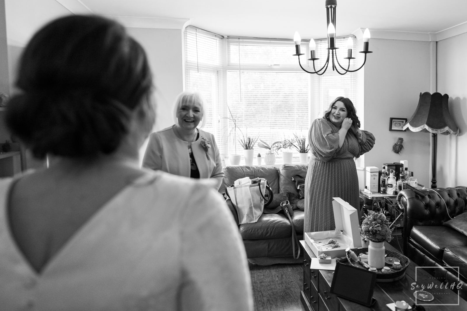 Newark Wedding Photography + Newark Wedding Photographer + bridesmaid and mum see the bride in her wedding dress for the first time