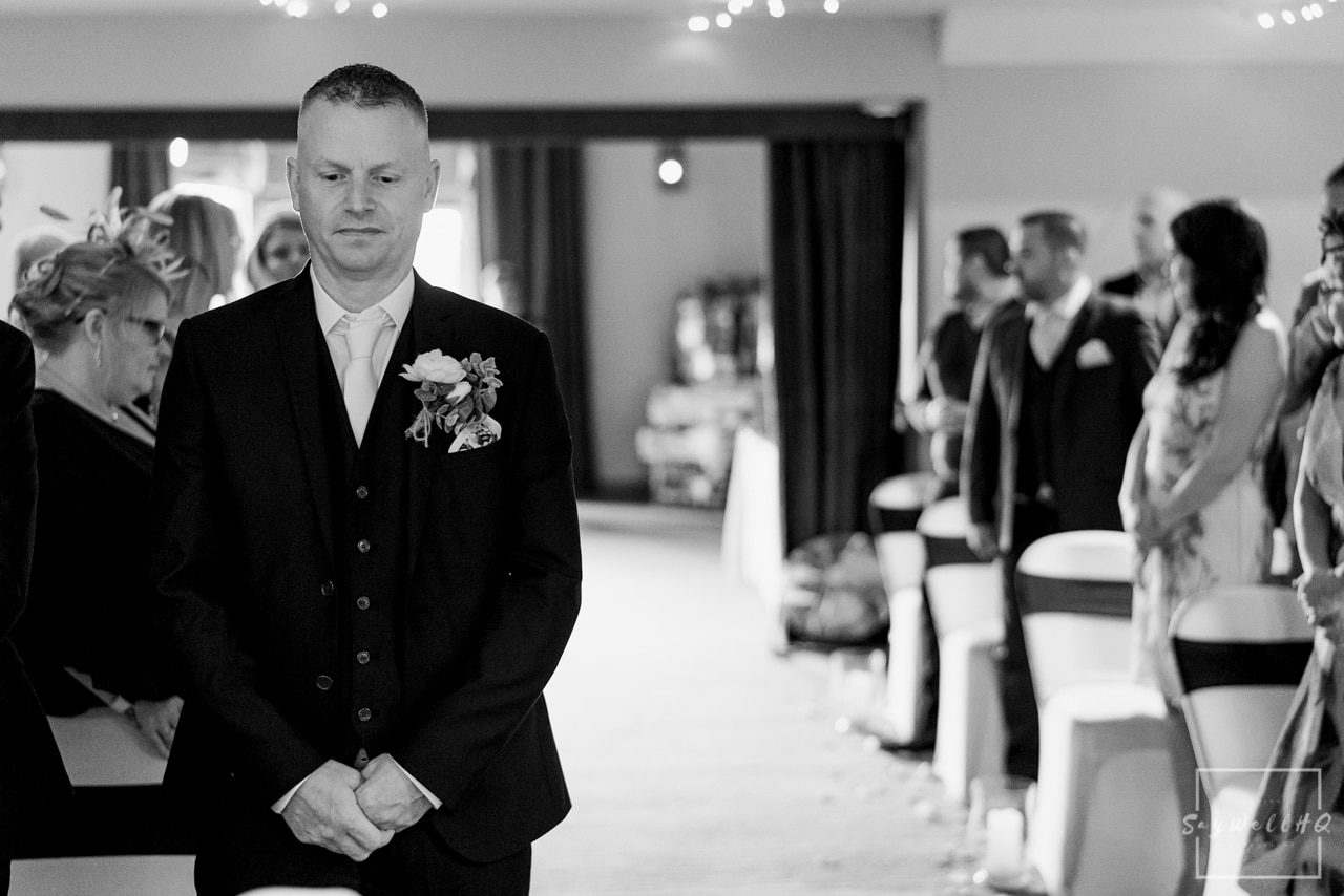 Brewhouse and Kitchen Wedding Photography + The Riverside Gallery Wedding Photographer  + groom looking nervous before his wedding ceremony