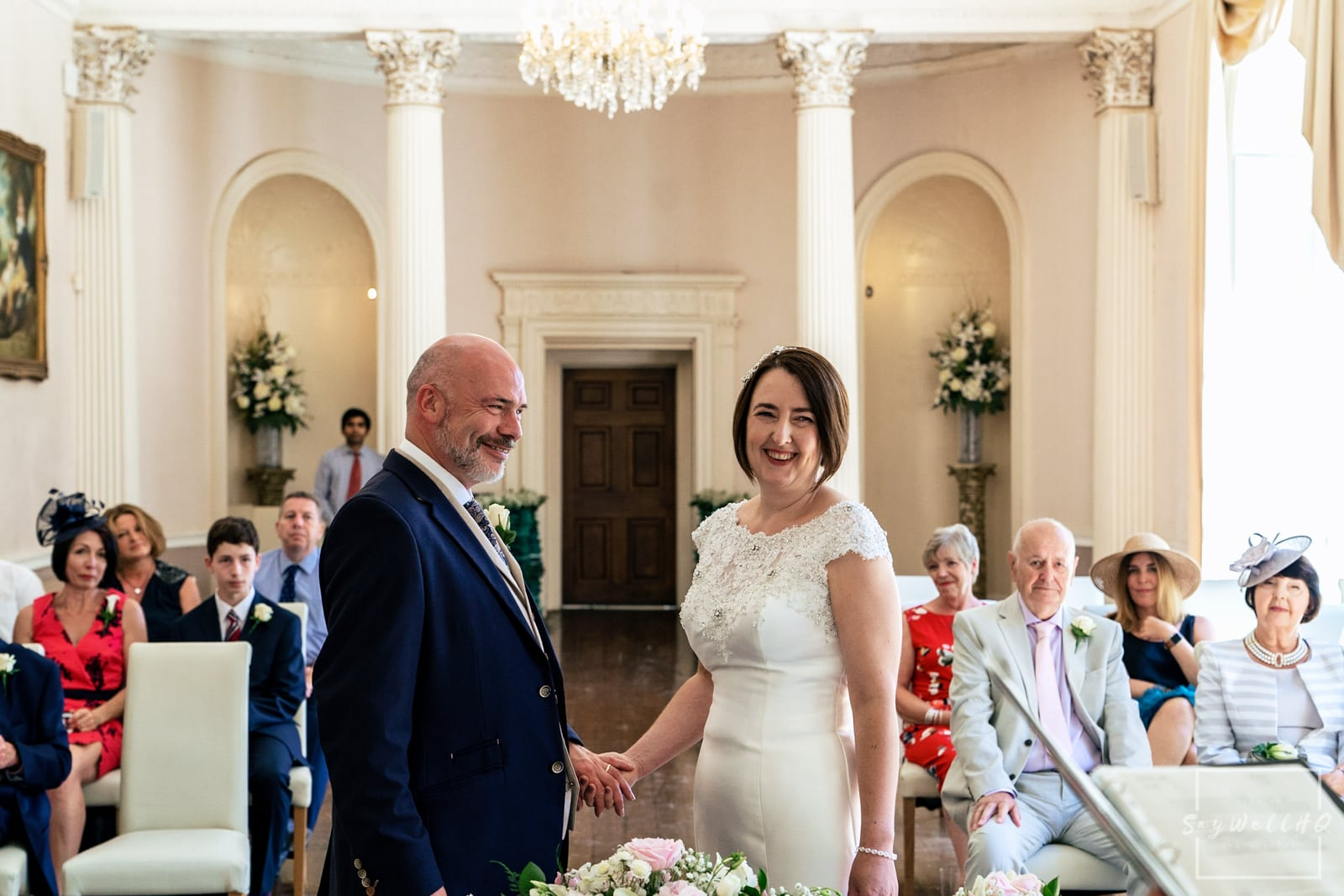 Colwick Hall Wedding Photography + Colwick Hall Wedding Photographer + Bride and Groom looking happy during their wedding ceremony at Colwick Hall Hotel