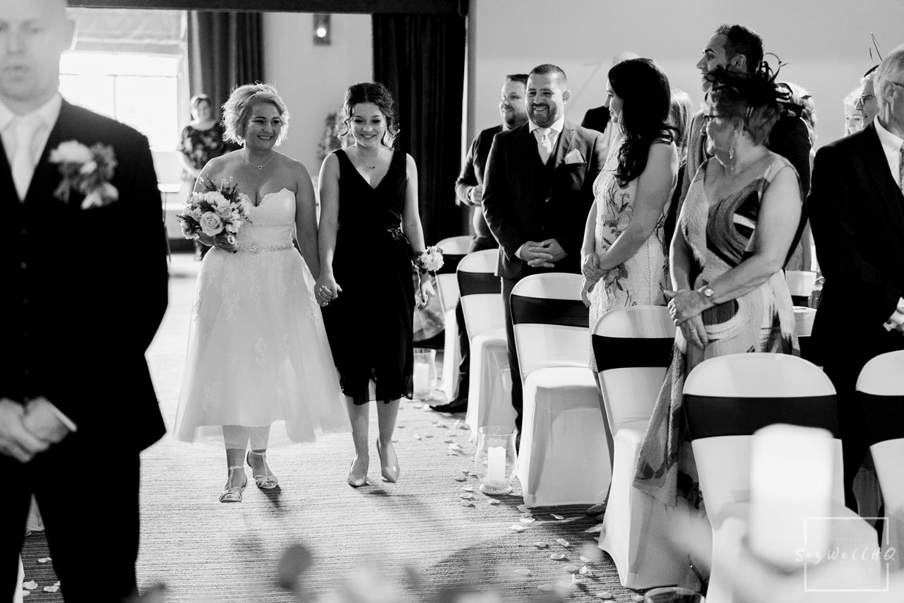 Brewhouse and Kitchen Wedding Photography + The Riverside Gallery Wedding Photographer  + bride and her daughter walking down the wedding aisle