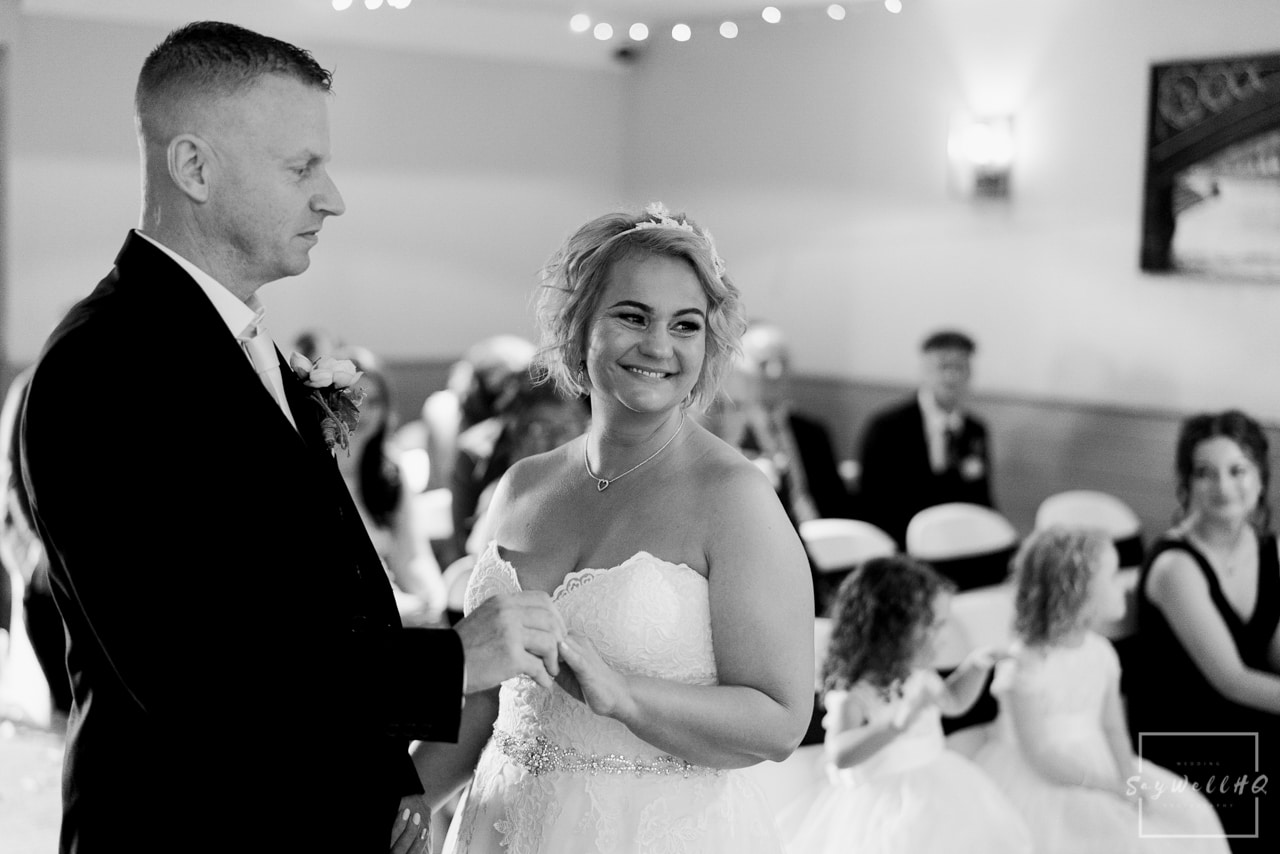 Brewhouse and Kitchen Wedding Photography + The Riverside Gallery Wedding Photographer  + bride and groom exchange the wedding rings