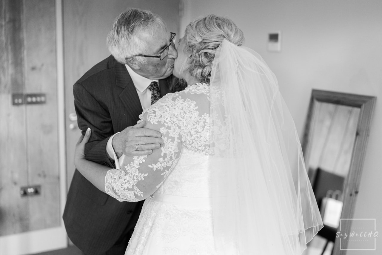 The Carriage Hall Wedding Photography + Carriage Hall Wedding Photographer + Bride sees her dad for the first time on her wedding day