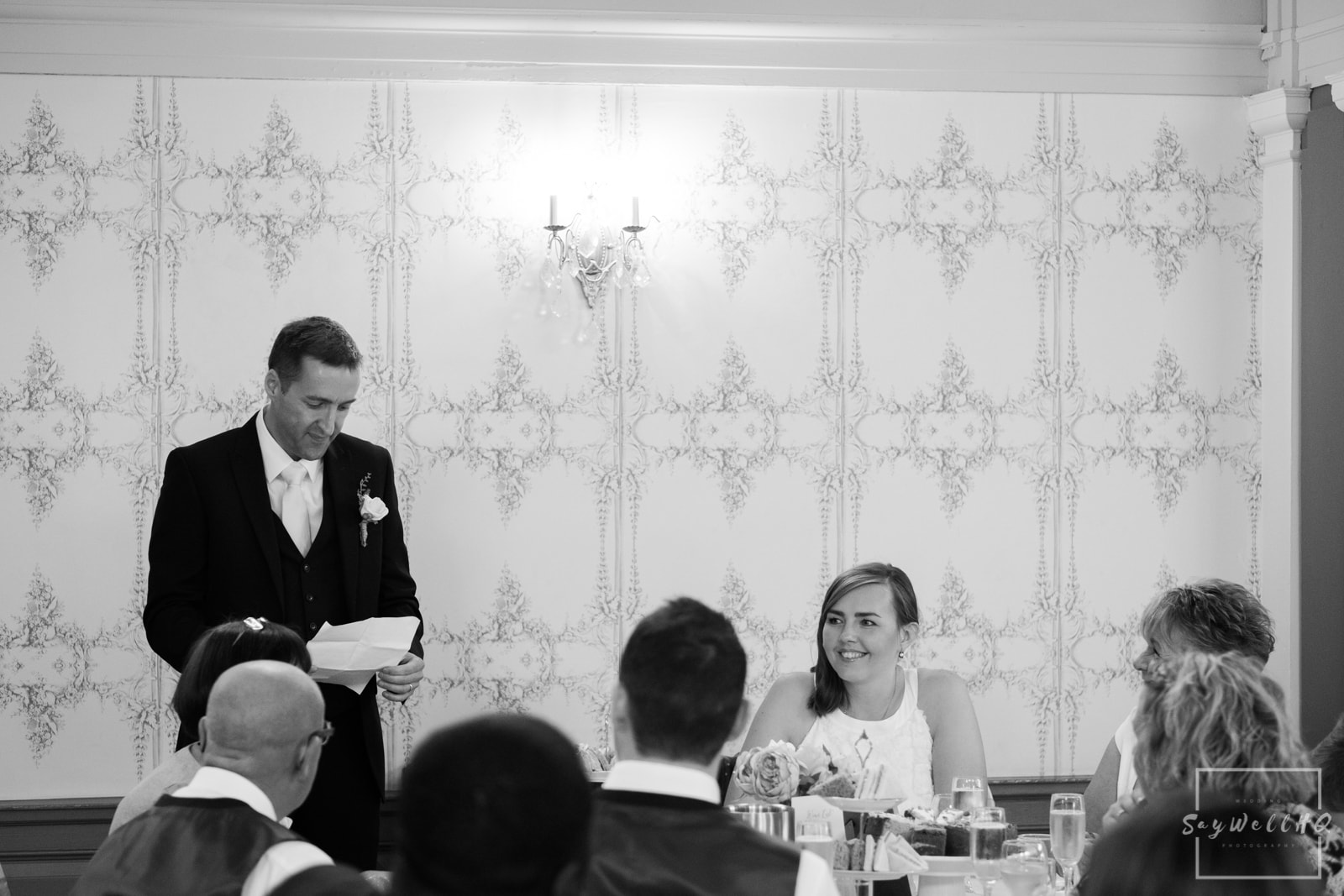 West Bridgford Wedding Photography + Bridgford Hall Wedding Photographer + groom making his wedding speech