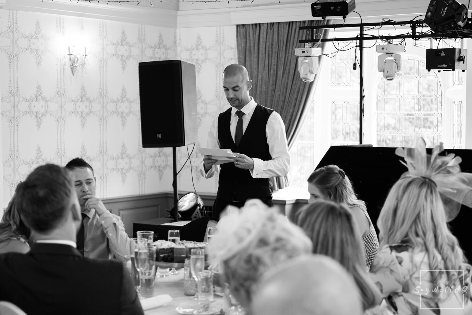 West Bridgford Wedding Photography + Bridgford Hall Wedding Photographer + best man gives his wedding speech