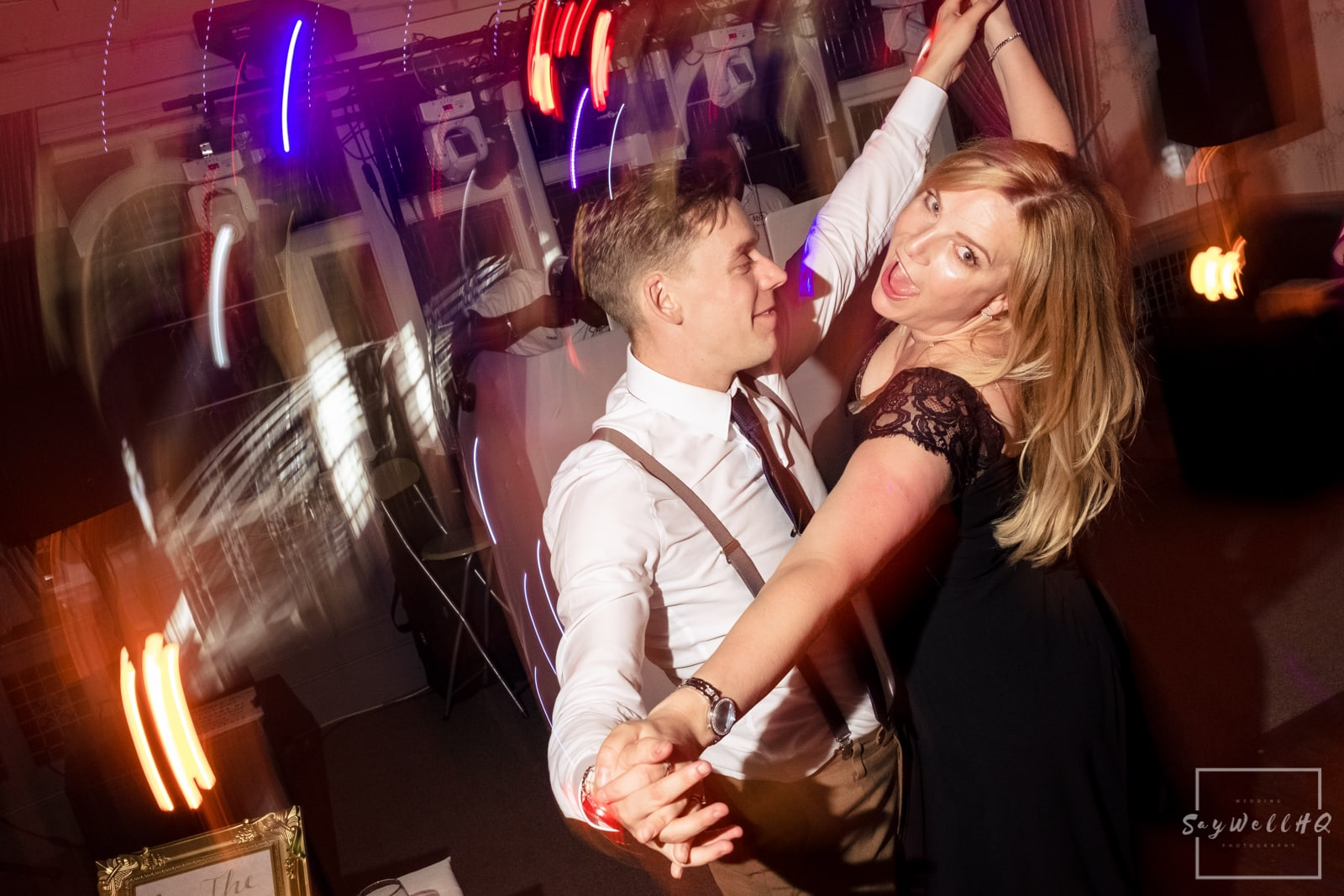 West Bridgford Wedding Photography + Bridgford Hall Wedding Photographer + wedding guests enjoy the wedding disco