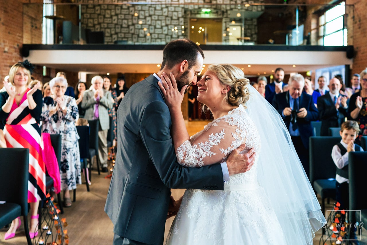 The Carriage Hall Wedding Photography + Carriage Hall Wedding Photographer + Bride and groom kiss for the first time as husband and wife