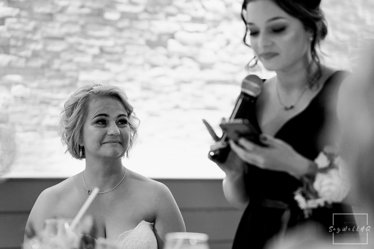 Brewhouse and Kitchen Wedding Photography + The Riverside Gallery Wedding Photographer + bride gets emotional during her daughters wedding speech