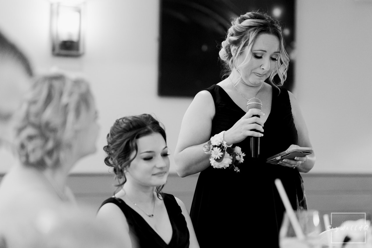 Brewhouse and Kitchen Wedding Photography + The Riverside Gallery Wedding Photographer + bride gets emotional during her maid of honours wedding speech