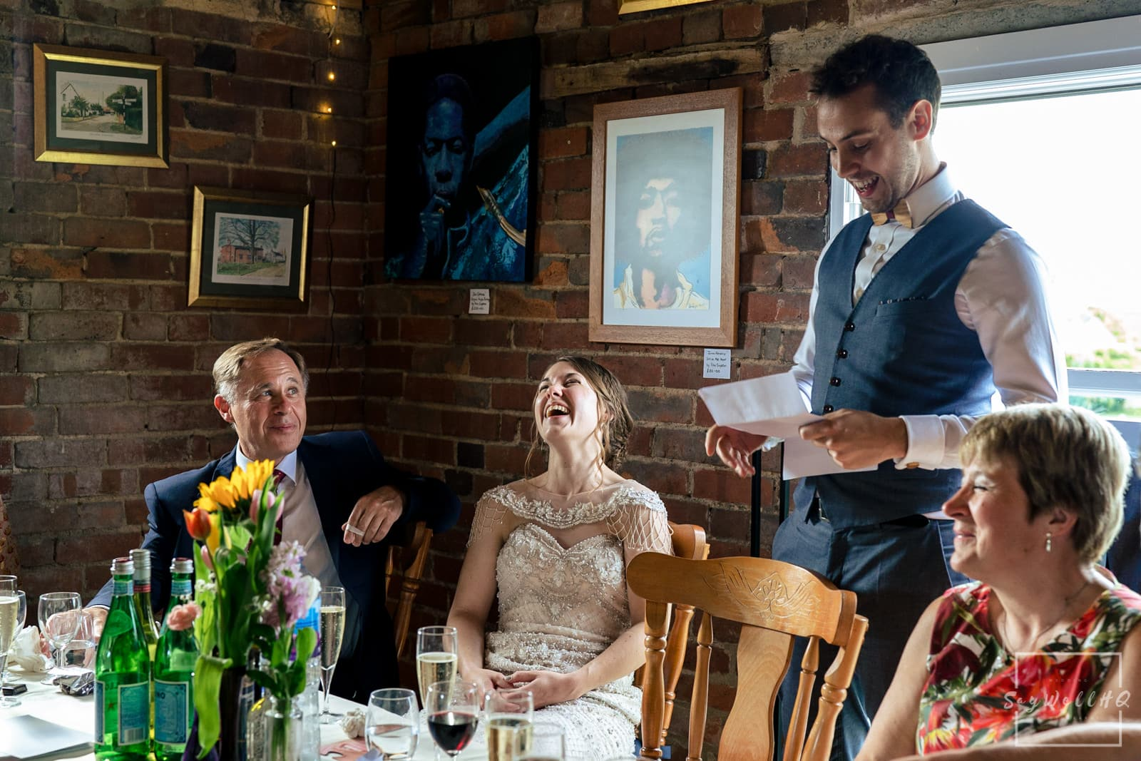 Leicester Wedding Photography + Leicester Wedding Photographer + Humanist Wedding Photographer + groom and the best man doing their wedding speeches