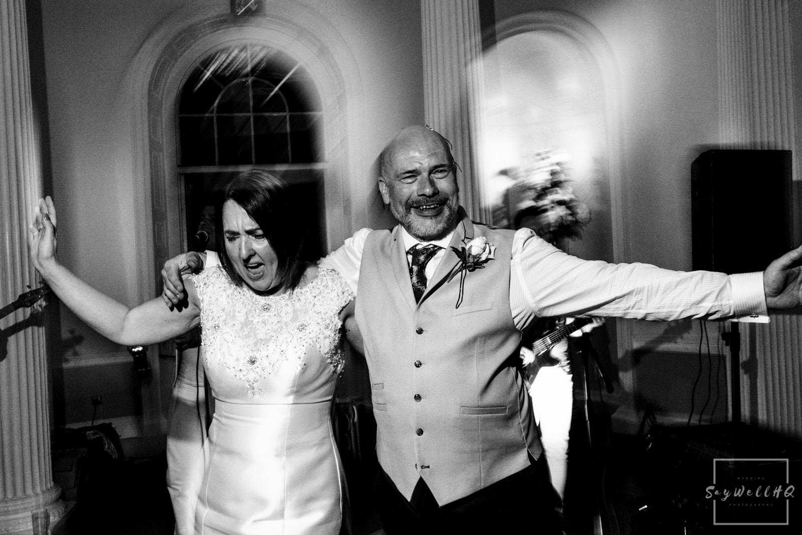 Colwick Hall Wedding Photography + Colwick Hall Wedding Photographer + bride and groom dance during the 80's live band playing live music on their wedding day