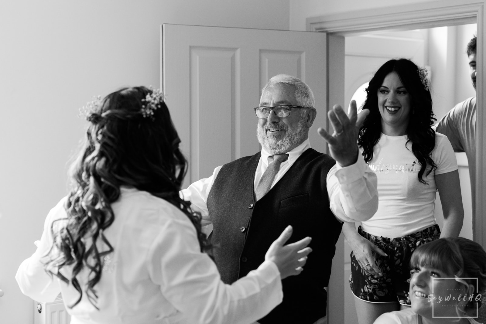Mapperley Farm Wedding Photography + Mapperley Farm Wedding Photographer + Bride sees her Dad for the first time on her wedding day