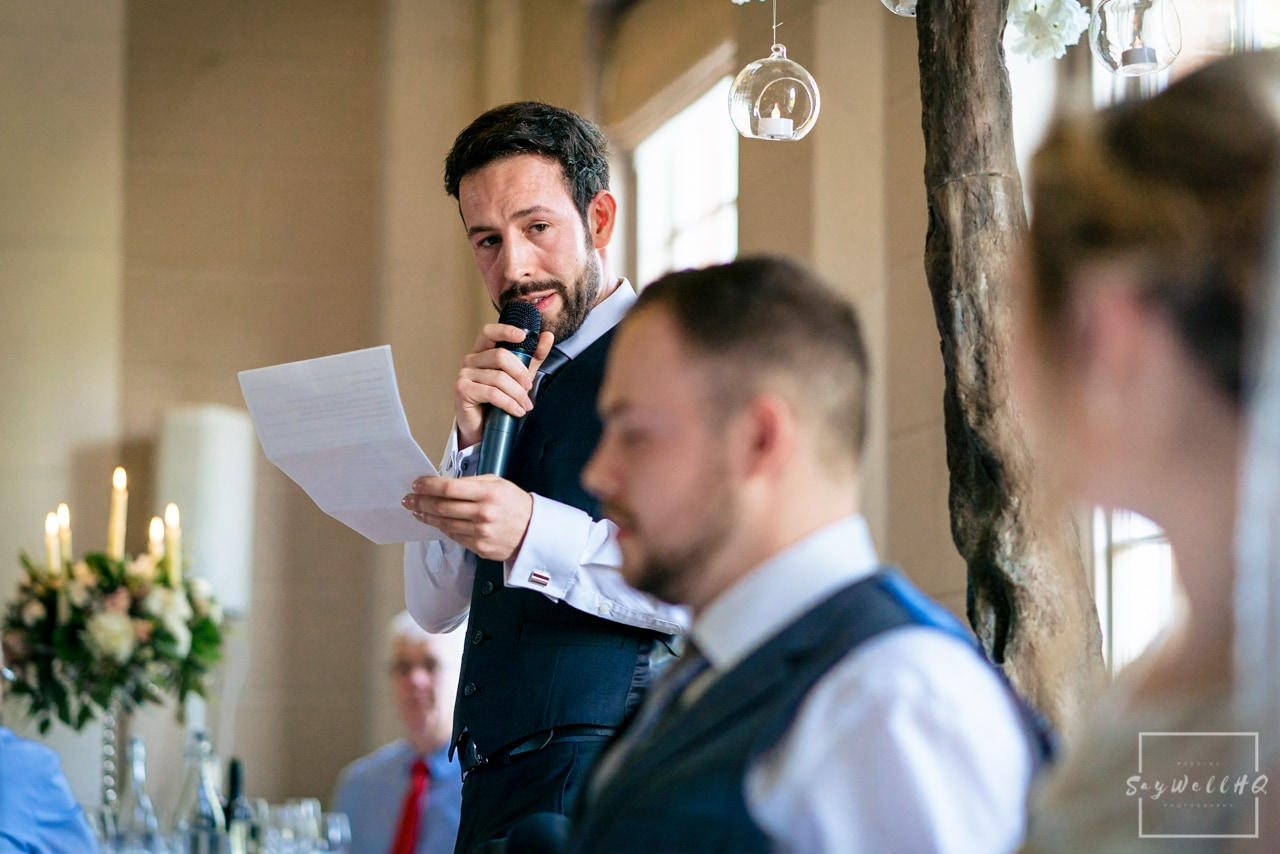 Norwood Park Wedding Photography + Best man gives emotional speech to the groom at a wedding at Norwood Park
