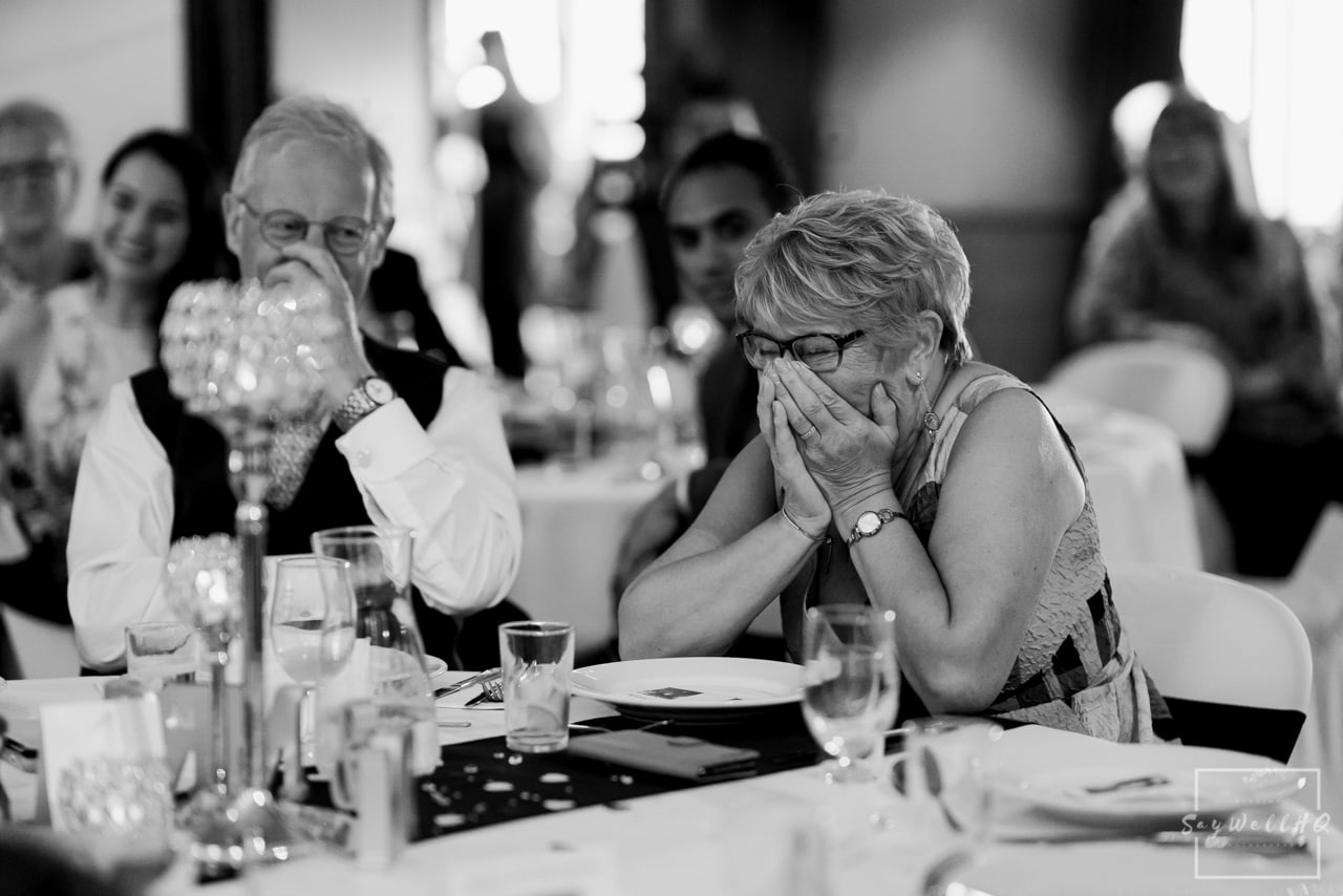 Brewhouse and Kitchen Wedding Photography + The Riverside Gallery Wedding Photographer + bride and groom get the giggles during the best mans speech