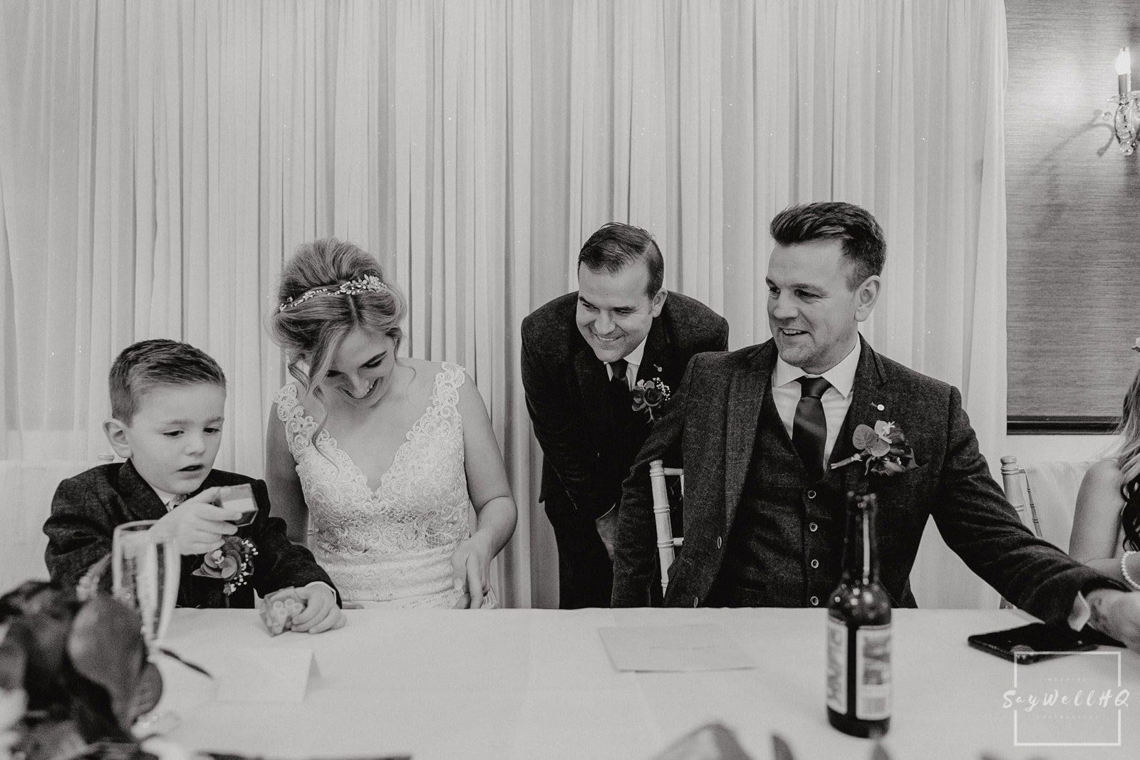 Goosedale Wedding Photography + Goosedale Wedding Photographer + bride checks over the bestmans wedding speech before he delivers the embarrassing stories