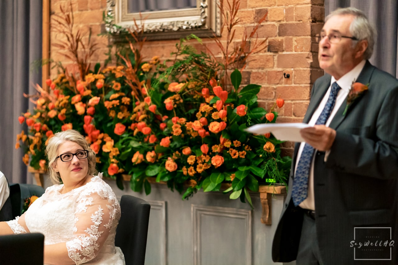 The Carriage Hall Wedding Photography + Carriage Hall Wedding Photographer + father of the bride gives his wedding speech
