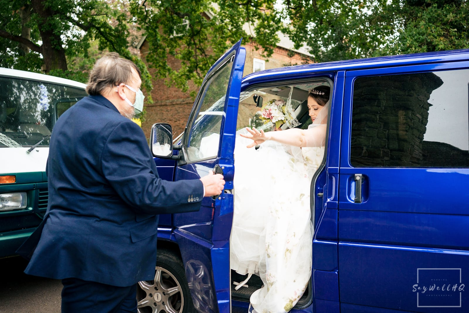 Lincoln Wedding Photography + Spilsby Church Wedding Photographer + bride arrives in her VW campervan ready for here Church Wedding ceremony