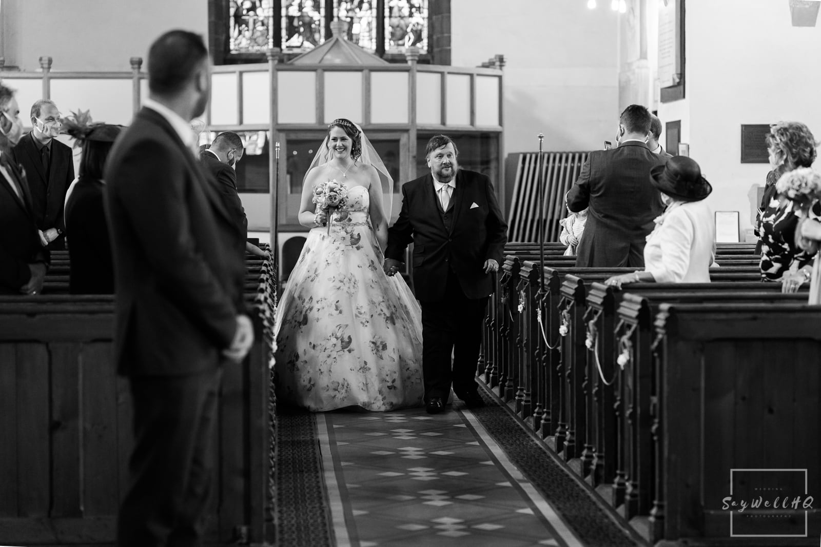 Lincoln Wedding Photography + Spilsby Church Wedding Photographer + Bride and her Father walking down the wedding aisle