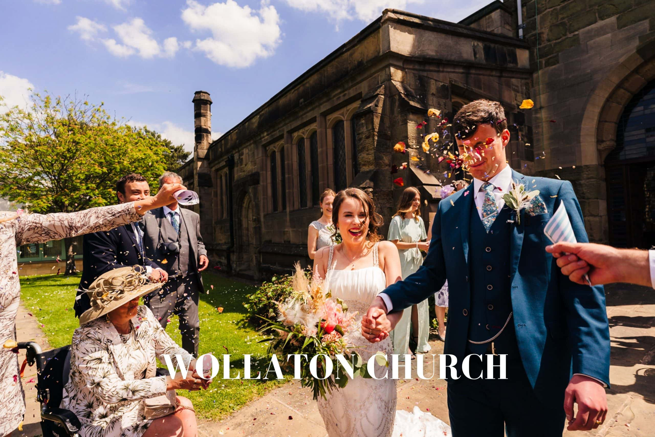 Wollaton Wedding Photography + Wollaton Wedding Photographer + Bride and Groom getting covered in Confetti
